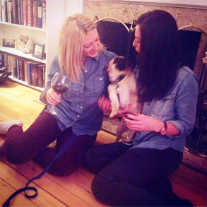 Alfie, Kristina's puppy pug posing with Erin & Mary Anne for the UBC Christmas card